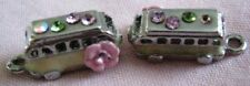 Chanel vintage tiny pair of bus charms silver plate, colored Rhinestones on roof