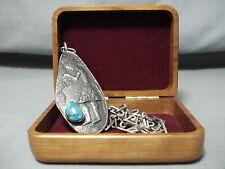 Authentic Vintage Hopi Preston Monongye Turquoise Sterling Silver Necklace