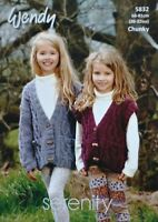 KNITTING PATTERN Girls Cable Waistcoat and Cardigan Pockets Chunky 5832 Wendy