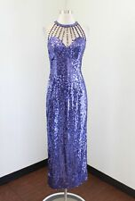 Vtg 90s Niteline Purple Gold Sequin Beaded Party Evening Dress Size 6 Caged Neck