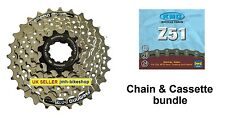 New Shimano CS-HG41 7 Speed Cassette 11-28T Sprocket Cog & KMC Z51 7 speed chain