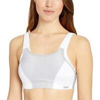 Glamorise Women's Double-Layer Custom-Control Sport Bra,, White/Grey, Size 34C 7