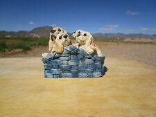 Stone Critters, Vintage, Cocker Spaniel Mom & 3 Pups in Blue Basket