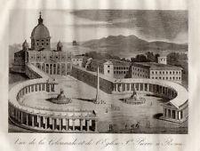 GRAVURE RELIGION / VUE DE LA COLONNADE ET DE L'EGLISE St PIERRE A ROME