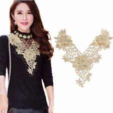 Golden Trim Lace Embroidered Venise Neckline Neck Collar Clothes Sewing Applique