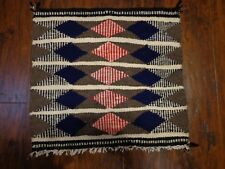"""Vintage Hand Woven Small Rug Blanket  Wool Textile 15"""" x 16"""" Estate Find"""