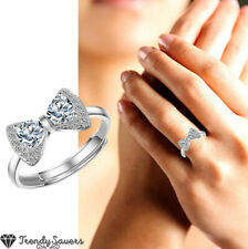 925 Sterling Silver Cz Cubic Zirconia Bow Ring Women Open Band Ring Adjustable