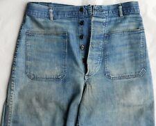 Vintage 50's Us Navy Sailor Indigo Denim Bell Bottom Work Pants size W29 x L31