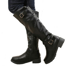 HOT Women Low Heel Knee High Punk Boots Wide Calf Bootie Motorcycle Riding Shoes