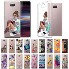 "For Sony Xperia 10 6"" Design Transparent Crystal Clear Soft TPU Case Skin Cover"