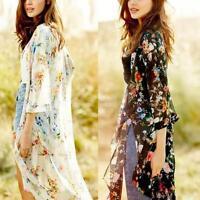 Women's Boho Long Cardigan Coat Kimono Blouse Vintage Floral Print  Chiffon Tops