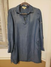 EXC Cloth & Stone From Anthropologie Chambray Denim Look Tunic Dress Blue sz S