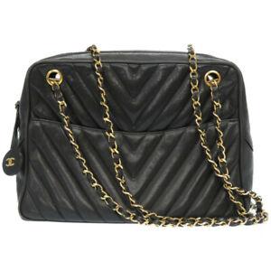 Auth CHANEL Chain Shoulder Bag Leather Black color V stitch U2607ZGA5