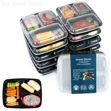10 Meal Prep Containers Plastic Food Storage Microwavable Reusable 3 Compartment