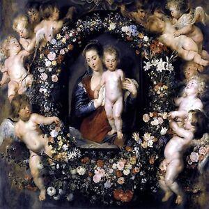 Madonna on Floral Wreath P. Rubens Tile Mural Kitchen Backsplash Marble Ceramic