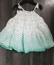Baby Girl Dress GAP age 18-24 month white strappy green flower boho vgc