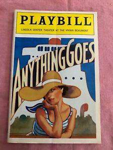 ANYTHING GOES Playbill Vivian Beaumont Theatre 1989 Leslie Uggams Linda Hart