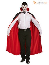 Full Length Black Red Vampire Cape Cloak Adult Men Halloween Fancy Dress Costume
