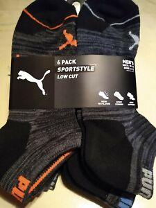 Puma Mens Sportstyle Socks 6 Pairs Pack Low Cut SZ 10-13 Shoe SZ 6-12 Black/Gray