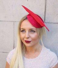 Red Velvet Statement Feather Hair Fascinator Hat Races Headpiece Vintage 2560