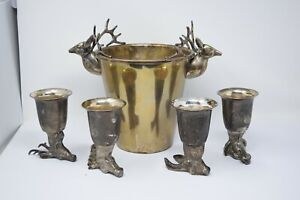 Vintage Deer Elk Antlers Ice Bucket w Animal STIRRUP Cups India GUCCI Style