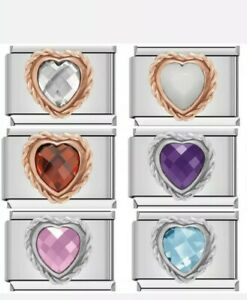 CRYSTAL HEART GEMS Charms that fit 9mm Nomination +gift pouch-NC170