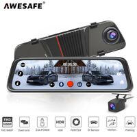 """AWESAFE 10"""" FHD 1080P Car DVR Dual Lens Rear View Mirror Dash Cam G-sensor HDR"""