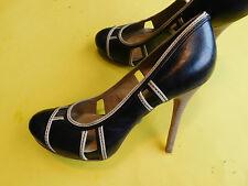 LAMB-Sz-8-5-M-Black-Leather-Platform-Stiletto-Women-Heels