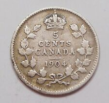 1904 Five Cents SILVER VG ** Nice BETTER King Edward VII OLD Canada 5¢ Half Dime