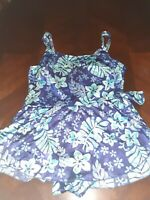 Maxine Of Hollywood Skirted Blue Floral Hawaiian Print Swimsuit Size 18