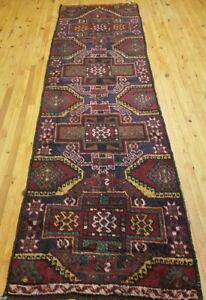 "Primitive 1900-1930's Antique Wool Pile Natural Dye Herki Runner Rug 3'x 10'3"""