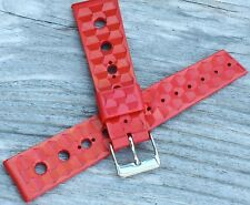 Red rubber 20mm Tropic divers vintage watch band type 1960s/70 Trident Swiss