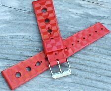 Red rubber 20mm divers vintage watch strap 1960s/70 Trident Swiss old stock