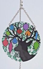 Joan Baker Designs DEER Horns Ornaments Painted Glass Round Suncatcher NWT