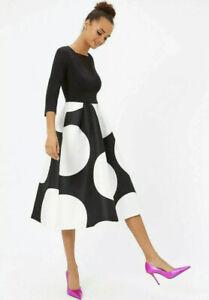 Coast Bodice Polka Dot Print Full Midi Party Wedding Prom Dress Size Uk10,12£169