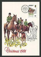 JERSEY MK 1981 caccia DRAG Hunt Cavalli Cani horse cheval MAXIMUM CARD MC cm d2681