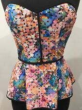 Pilgrim Designer Strapless Sexy Corset Floral Sexy Top Pastel Size 8 Extra Small