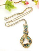 Vintage Gold Tone Faux Pearl Faux Turquoise Ribbon Loop Pendant Necklace 1950s
