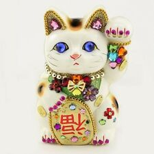 Maneki neko Japanese lucky cat Swarovski crystal decoration piggy bank 15cm