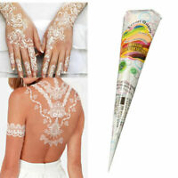 White Natural Herbal Temporary Tattoo Kit Henna Cones Art Ink Mehandi Body M5N9