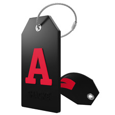 Initial Luggage Tag with Full Privacy Cover and Stainless Steel Loop (Black)