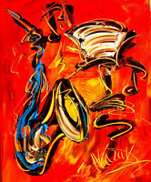 SAXOPHONE    IMPRESSIONIST LARGE ORIGINAL OIL  PAINTING - POP ART TWEGG