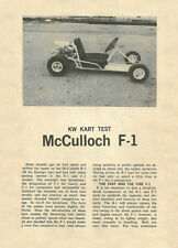 Vintage 1962 McCulloch F1 Go-Kart Test Report