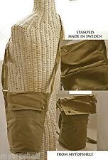 "Military Swede Small Shoulder Bag Canvas 10"" Khaki Surplus Unused Barrel 5""Disk"