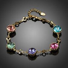 18K Rose Gold GP Made With Swarovski Crystal Elements Chain Ball Bangle Bracelet