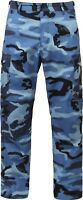 Mens Sky Blue Camouflage Cargo Army Camo Fatigues Military BDU Pants