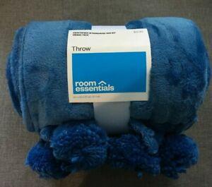 "Room Essentials Blue Plush Pom Pom Throw Blanket 50"" x 60""  Polyester BSOFT2"