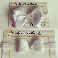 Baby Girl White Christening Headband Baptism Wedding Bow Cross Hairband Velvet