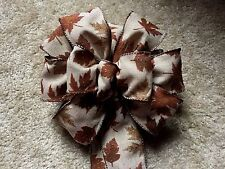 "9"" WIDE  SPARKLE LEAVES BROWN BURLAP FALL RIBBON BOW FOR 12"" WREATH, CRAFTS"