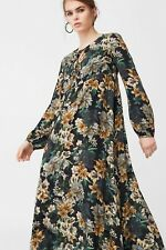 Mango Dark Floral Maxi Dress Long Empire Line Smocked 70s Blogger Fave XS 6/8 UK